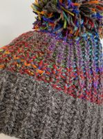 Chunky Knit Bobble Hat in Rainbow